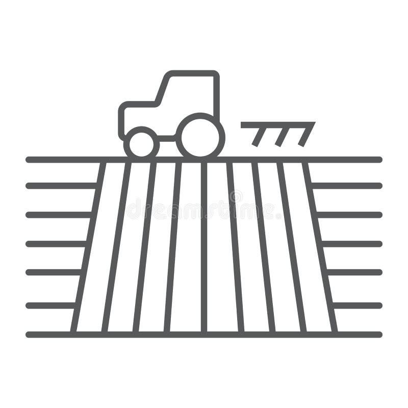 Traktor auf dünner Linie Ikone des Feldes, bewirtschaftend vektor abbildung