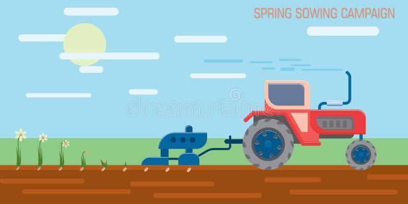 Traktor auf dem Gebiet vektor abbildung