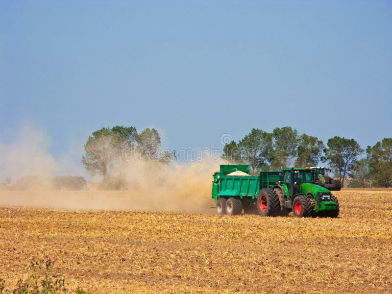 Traktor auf dem Sommergebiet während der Ernte lizenzfreies stockbild