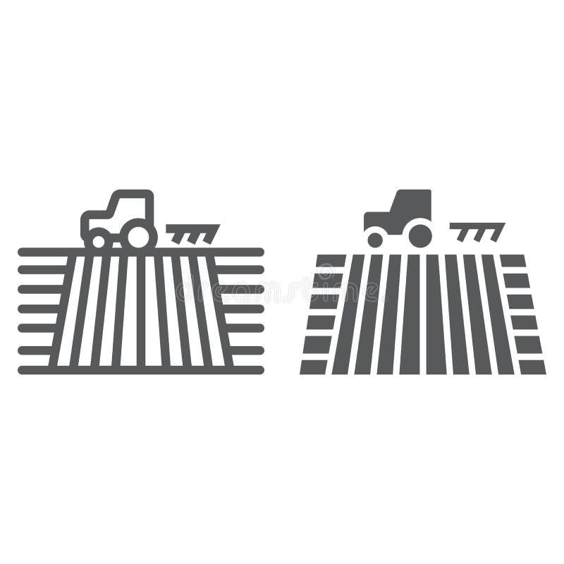 Traktor auf der Feldlinie und Glyphikone, bewirtschaftend stock abbildung