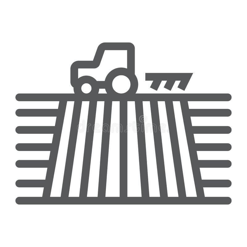 Traktor auf Feldlinie Ikone, bewirtschaftend lizenzfreie abbildung