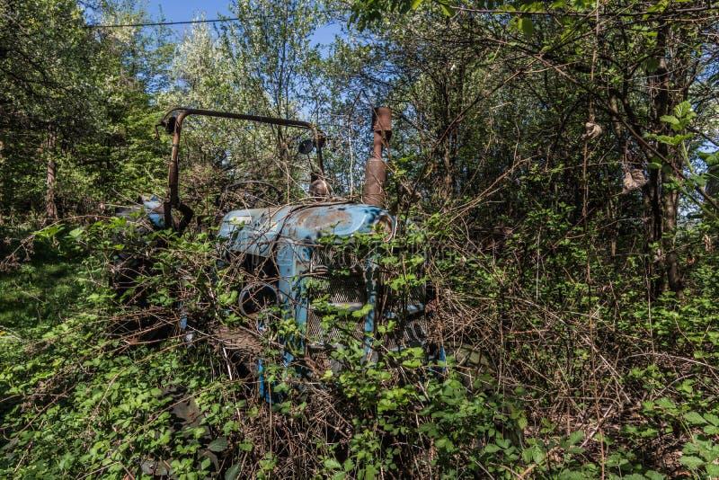 traktor del blauer de verwachsener imágenes de archivo libres de regalías