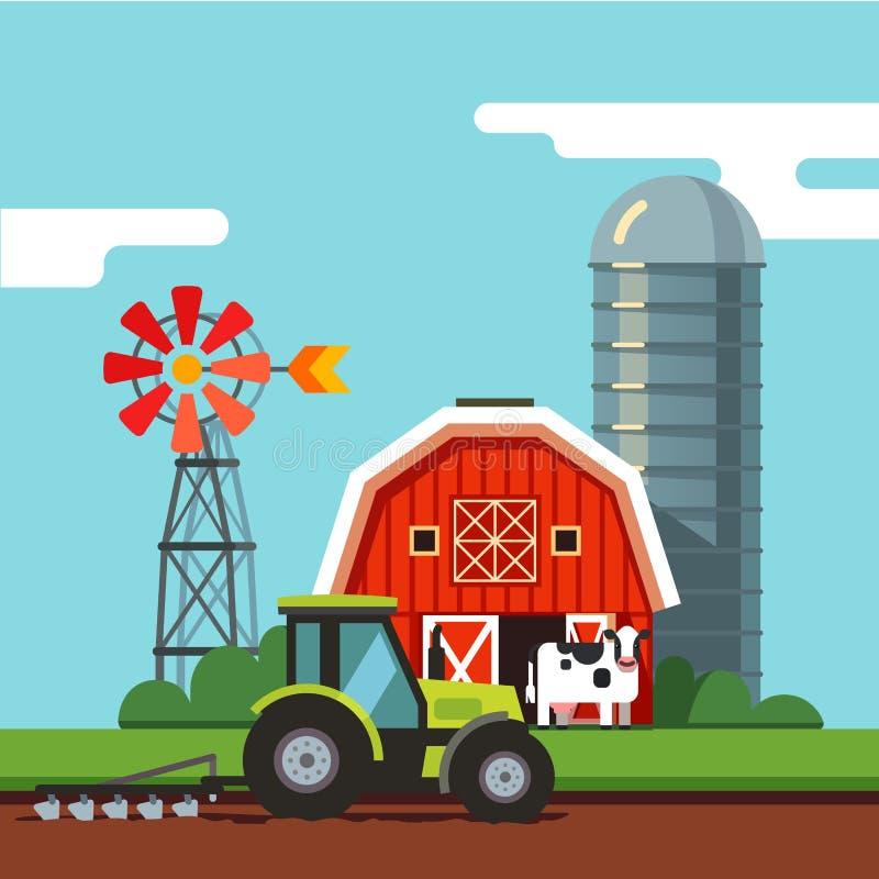 Traktor, der an einem anbaufähigen Feld arbeitet stock abbildung