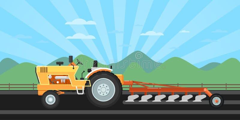 Traktor, der Feld für das Säen pflügt lizenzfreie abbildung