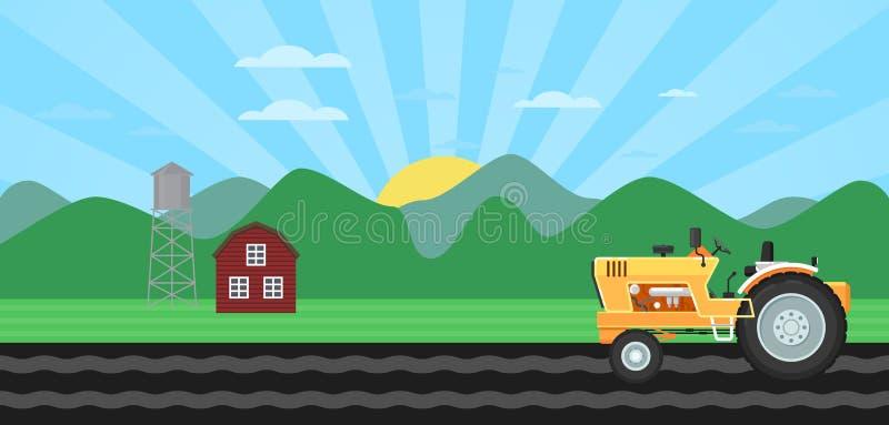Traktor, der Feld am Frühlingshintergrund kultiviert stock abbildung