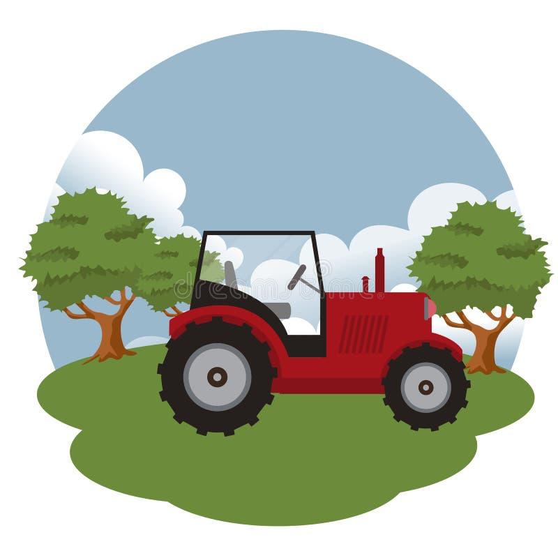 Traktor in der Landschaft Flachvektorbild stock abbildung