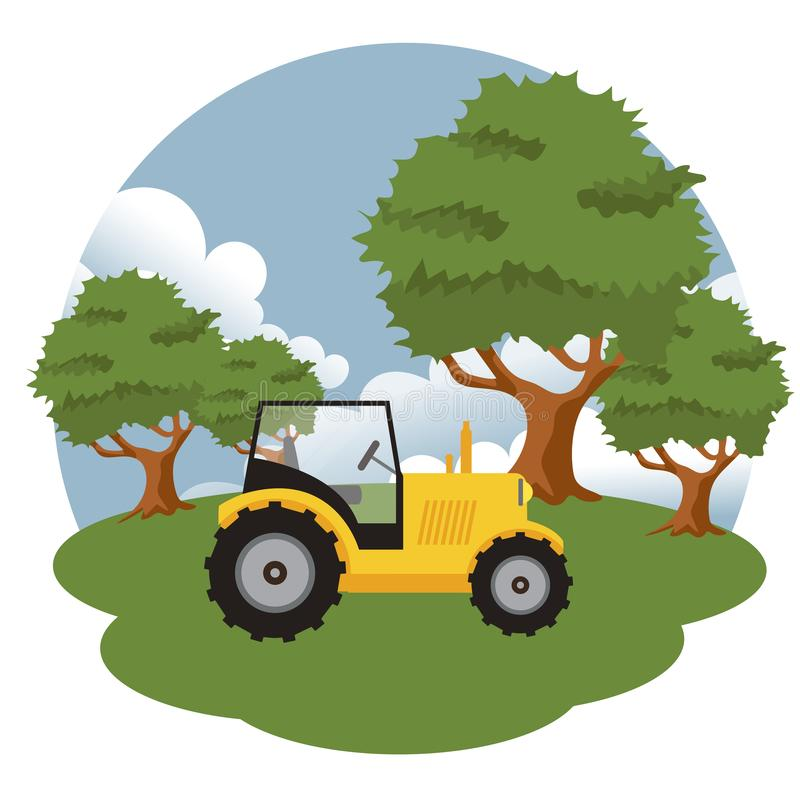 Traktor in der Landschaft Flachvektorbild lizenzfreie abbildung