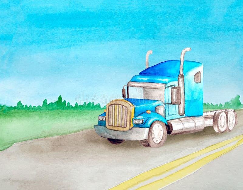 Traktor för lastbil för blå amerikan för vattenfärg halv utan ritter för en behållare på en asfaltväg mot bakgrunden av vektor illustrationer