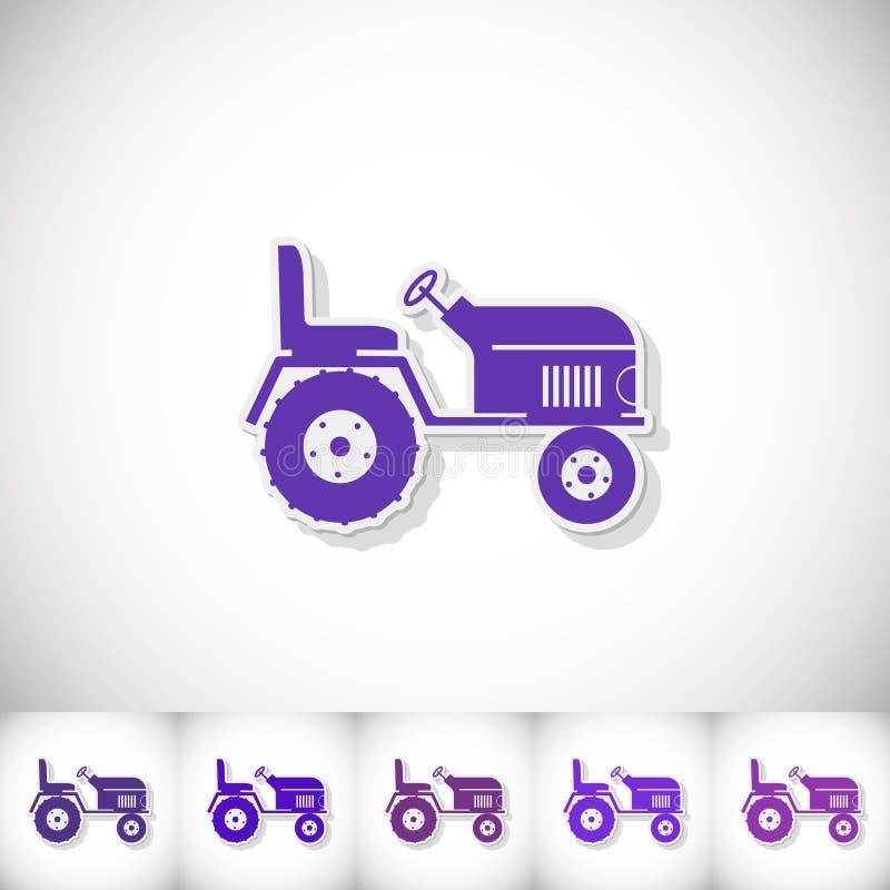 traktor Flacher Aufkleber mit Schatten auf weißem Hintergrund stock abbildung