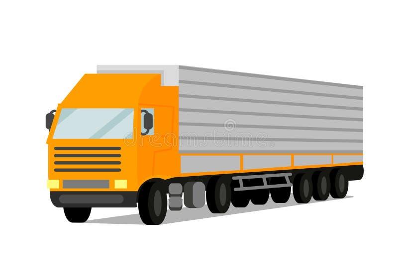 Traktor-Fracht-Anhänger-flache Vektor-Illustration vektor abbildung