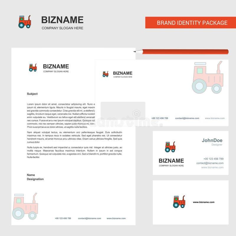 Traktor-Geschäfts-Briefkopf, Umschlag und Visitenkarte Entwurfsvektorschablone vektor abbildung