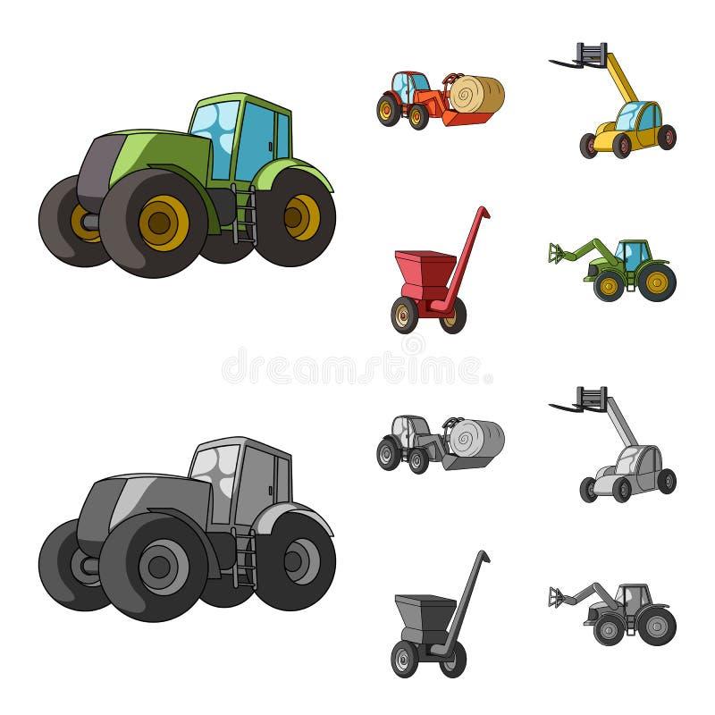 Traktor, Heustabilisator und andere landwirtschaftliche Geräte Gesetzte Sammlungsikonen der landwirtschaftlichen Maschinerie in d stock abbildung