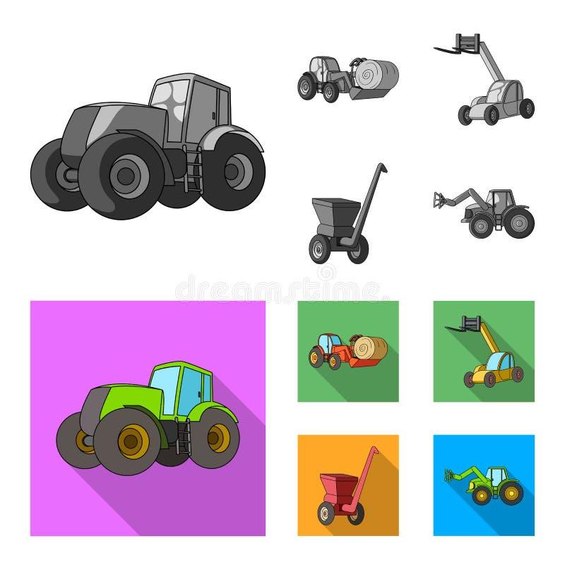 Traktor, Heustabilisator und andere landwirtschaftliche Geräte Gesetzte Sammlungsikonen der landwirtschaftlichen Maschinerie im M lizenzfreie abbildung
