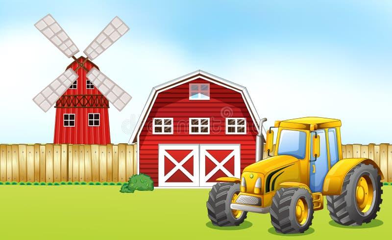 Traktor i gårdsplanen royaltyfri illustrationer
