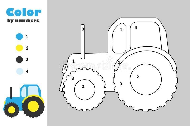 Traktor i tecknad filmstil, färg vid numret, utbildningspapperslek för utvecklingen av barn som färgar sidan, ungeförträning royaltyfri illustrationer