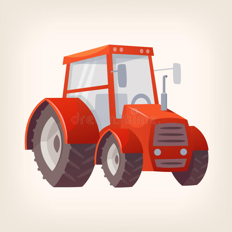 Traktor - jordbruks- maskin royaltyfri illustrationer