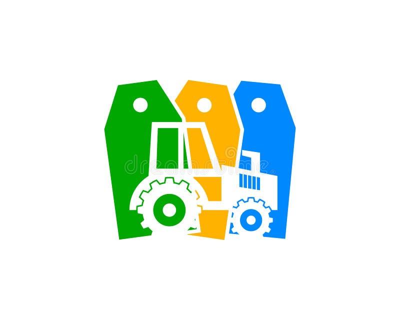 Traktor Logo Design, Aufkleber-Bauernhof-Ikone Logo Design Element stock abbildung