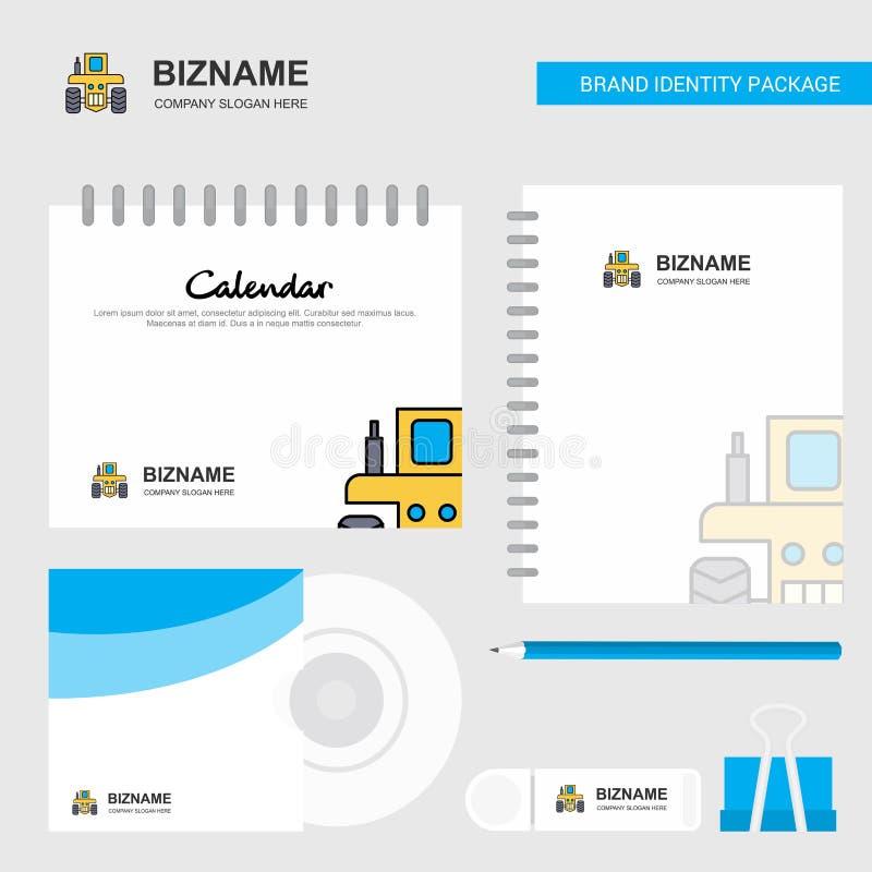 Traktor-Logo, Kalender-Schablone, CD-Hülle, Tagebuch und USB-Marken-stationäre Verpackungsgestaltungs-Vektor-Schablone lizenzfreie abbildung