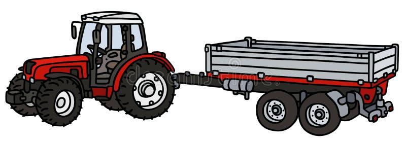 Traktor med en släp vektor illustrationer