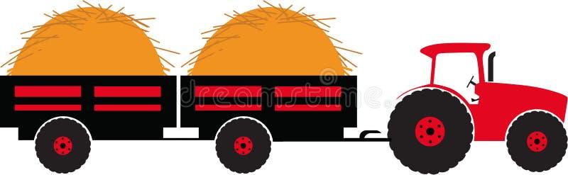 Traktor med släp två vektor illustrationer