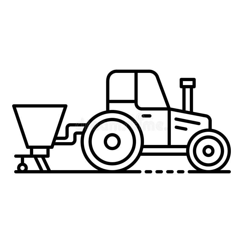 Traktor mit Drillmaschineikone, Entwurfsart lizenzfreie abbildung