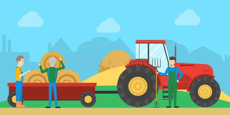 Traktor mit Heuschober stock abbildung