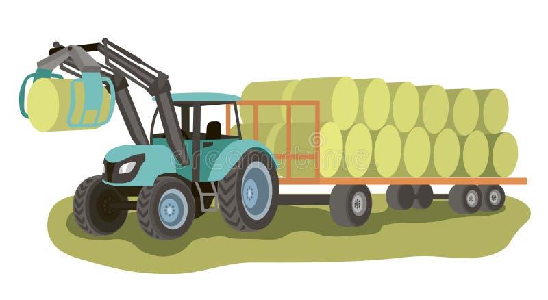 Traktor mit Lader und Ballen Heu auf dem Wagen stock abbildung