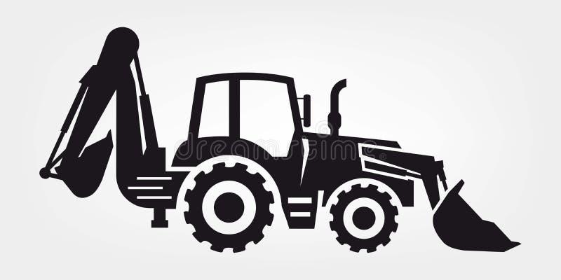 Traktor och grävskopa vektor illustrationer
