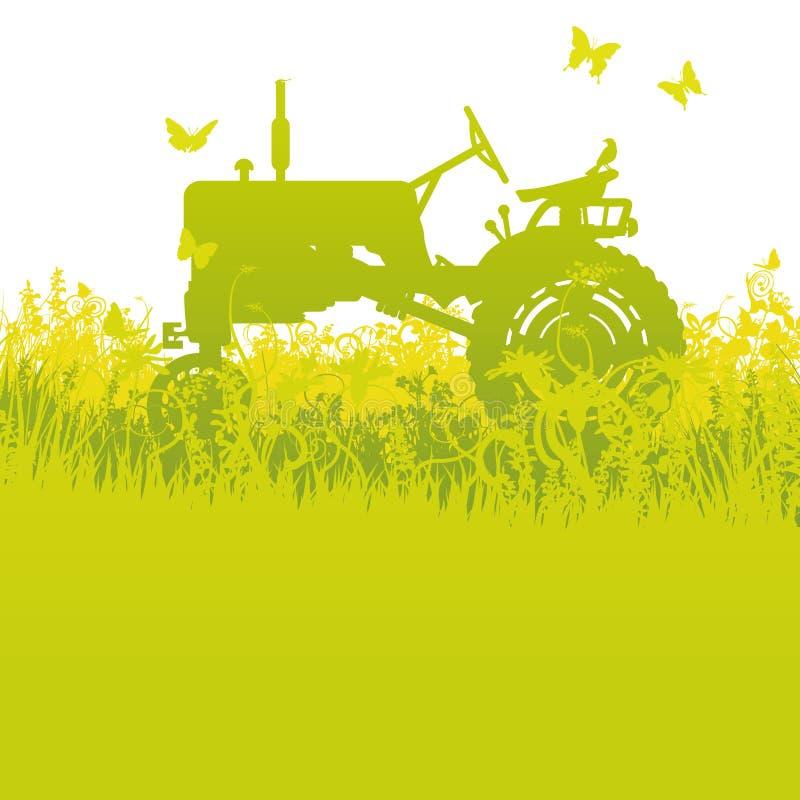 Traktor på skörden vektor illustrationer