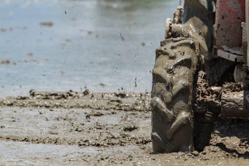 Traktor pflügen auf dem Reis-Gebiet lizenzfreie stockfotos