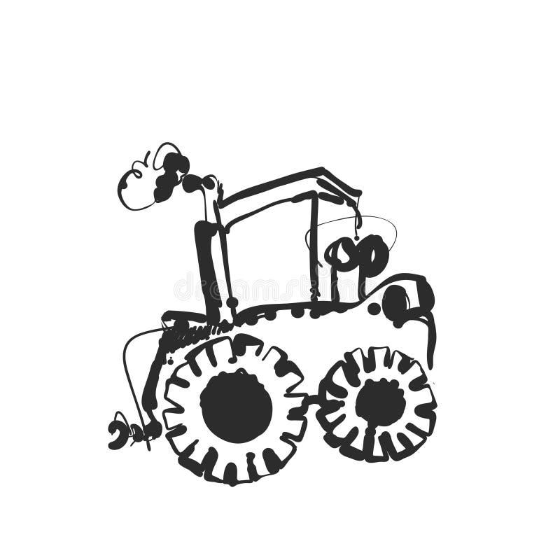Traktor-Skizze Hand gezeichnetes agrimotor karikatur stock abbildung