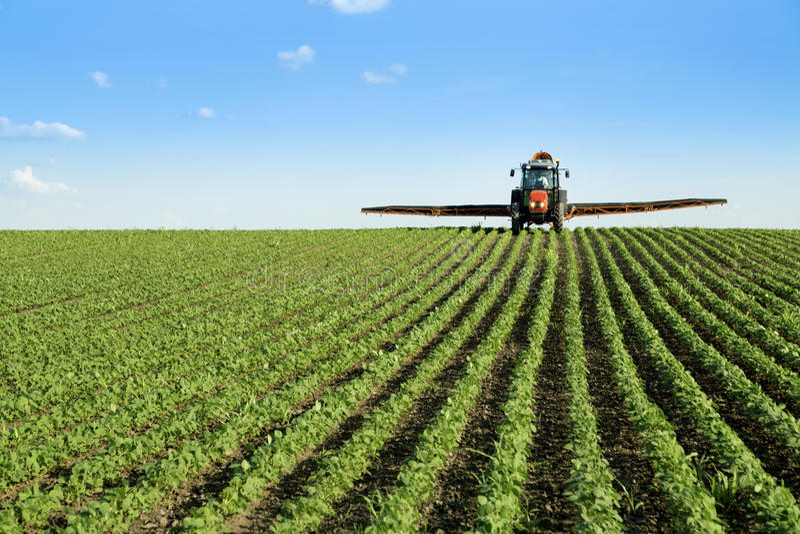 Traktor som besprutar sojabönaskördfältet royaltyfri foto