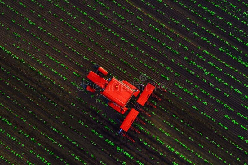 Traktor som odlar f?ltet p? v?ren, flyg- sikt arkivfoton