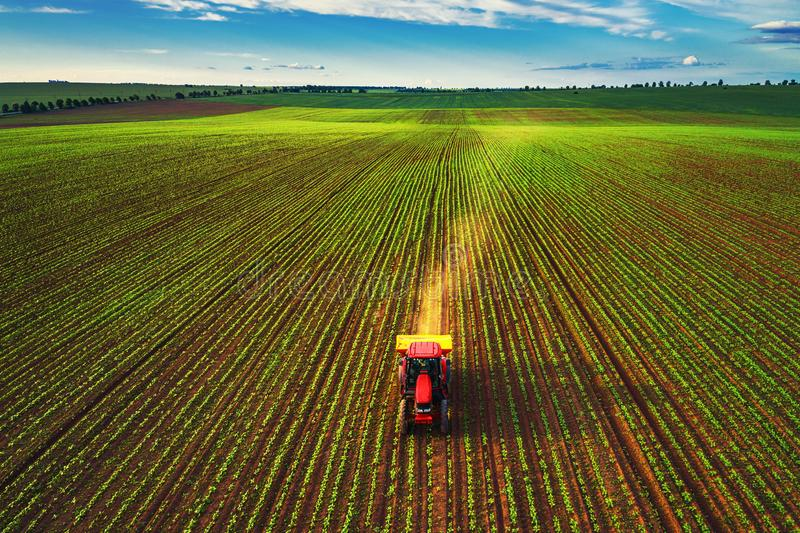 Traktor som odlar f?ltet p? v?ren, flyg- sikt arkivbild