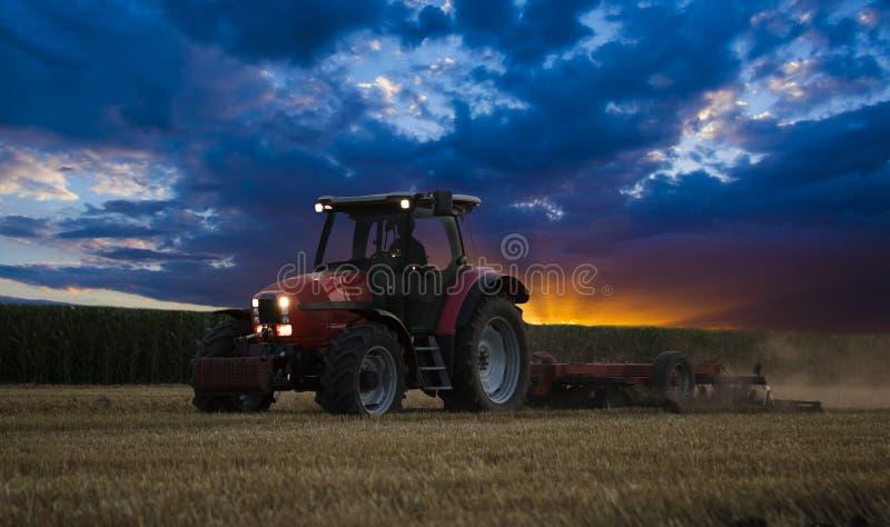 Traktor som odlar vetestubbåkern på solnedgången, skördrest royaltyfria bilder