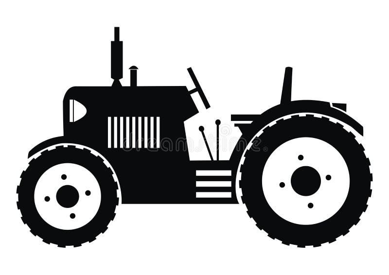 Traktor - svart royaltyfri illustrationer