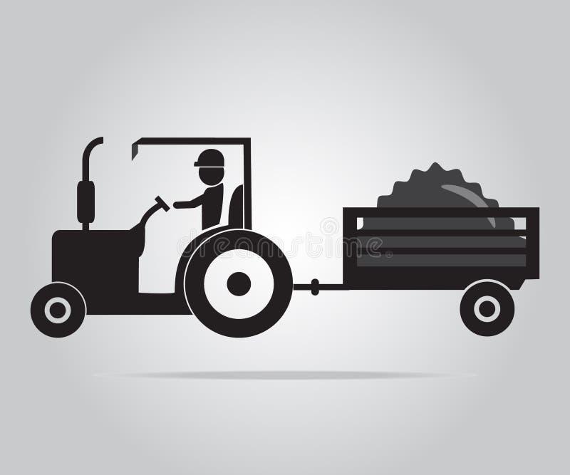 Traktor- und Fahrerikonenillustration stock abbildung