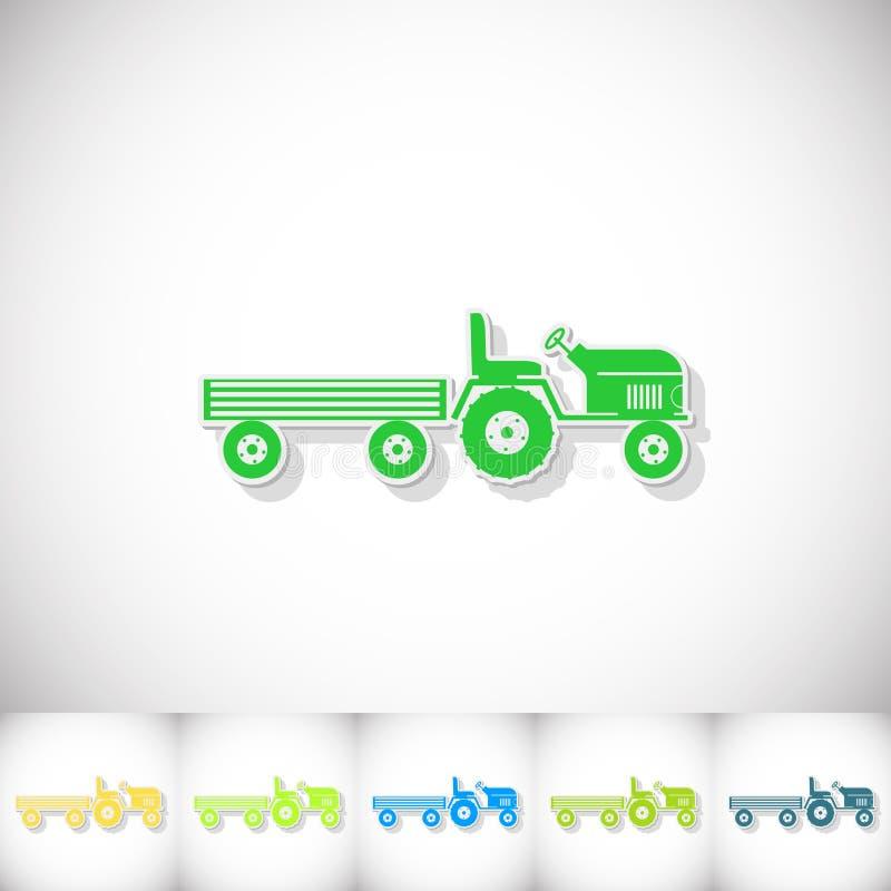Traktor und großer Anhänger Flacher Aufkleber mit Schatten auf weißem Hintergrund vektor abbildung