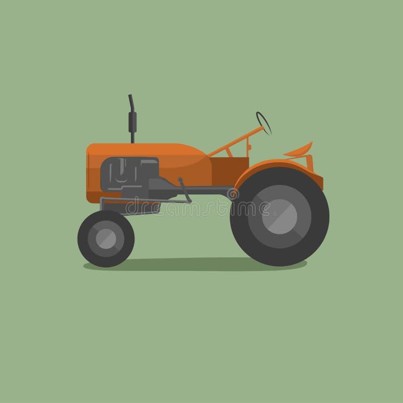 Traktor-Vektorillustration der Weinlese amerikanische Retro- landwirtschaftliche Maschine vektor abbildung