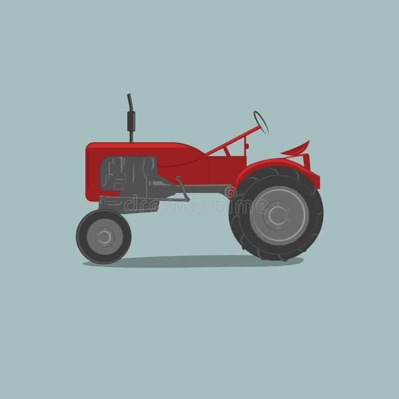 Traktor-Vektorillustration der Weinlese amerikanische Retro- landwirtschaftliche Maschine stock abbildung