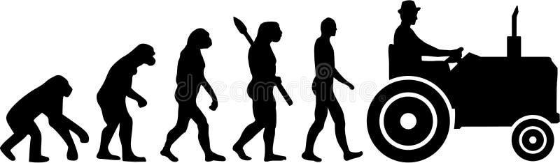 Traktorbonde Evolution royaltyfri illustrationer