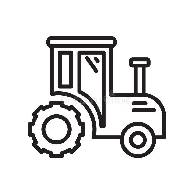 Traktorikonenvektorzeichen und -symbol lokalisiert auf weißem Hintergrund, Traktorlogokonzept, Entwurfssymbol, lineares Zeichen,  lizenzfreie abbildung