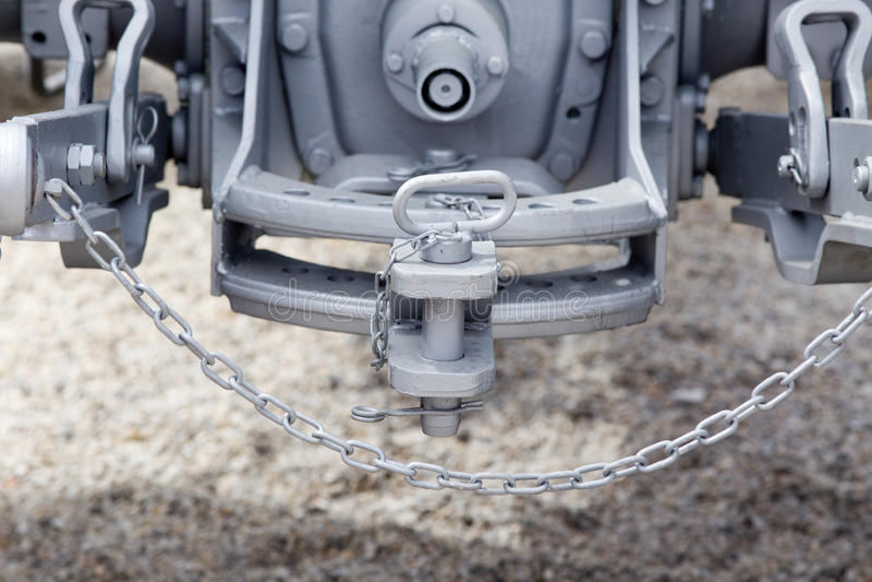Traktorproblem und -Anhängerkupplung stockbild