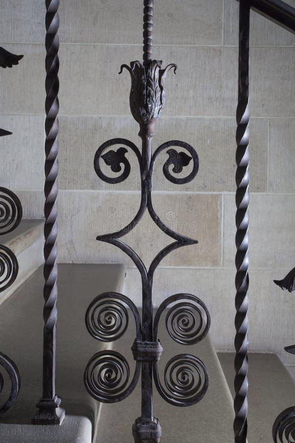 Tralkowy dokonanego żelaza szczegół z płatkami i liśćmi zdjęcia stock