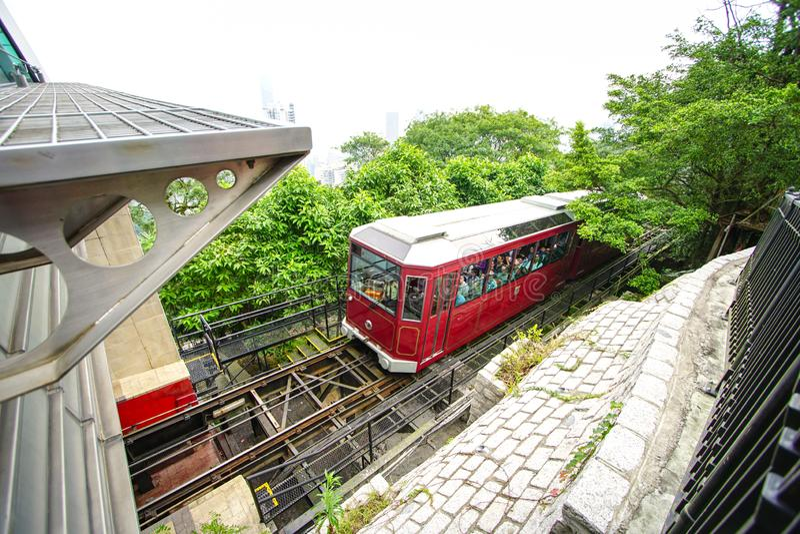 Tram aan Victoria Peak Hong Kong royalty-vrije stock foto's