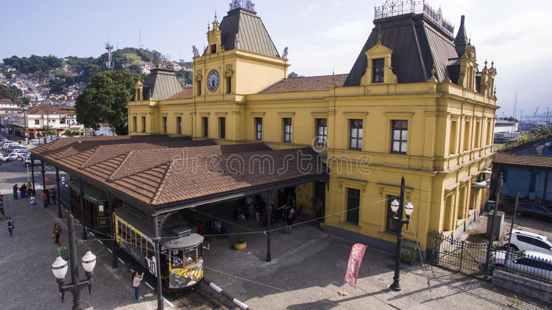 Tram aereo Santos, Brasile Luglio 2016 fotografia stock libera da diritti