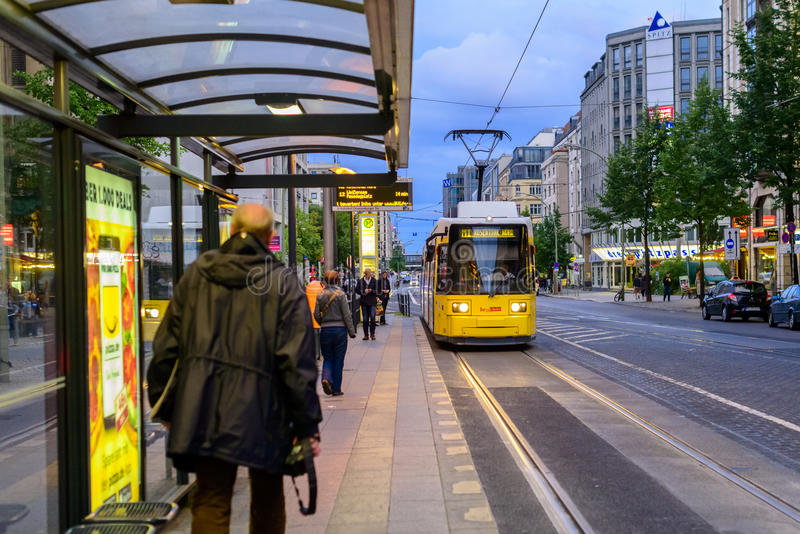 Tram approaching tram stop in Berlin royalty free stock images
