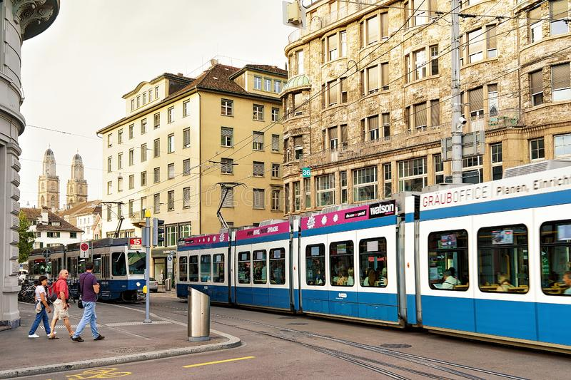Tram on Bahnhofstrasse Street at city center in Zurich stock photography