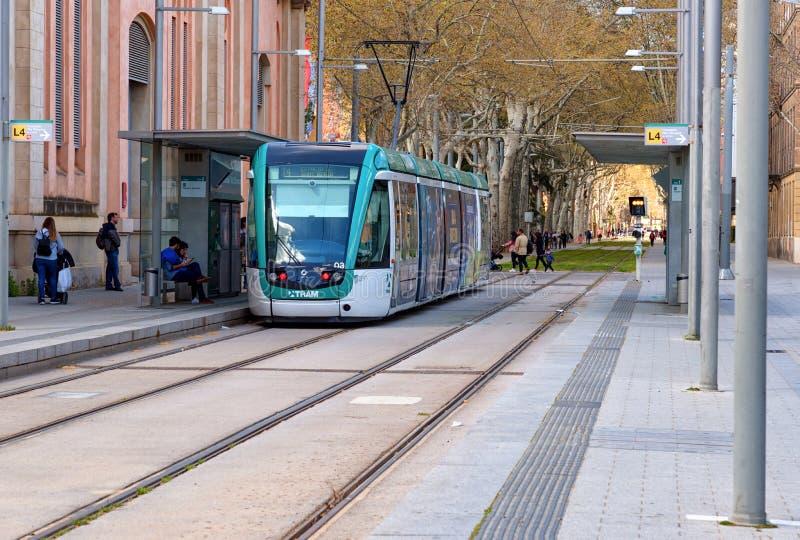 Tram in Barcelona, Ciutadella Vila Olimpica. Spain royalty free stock images