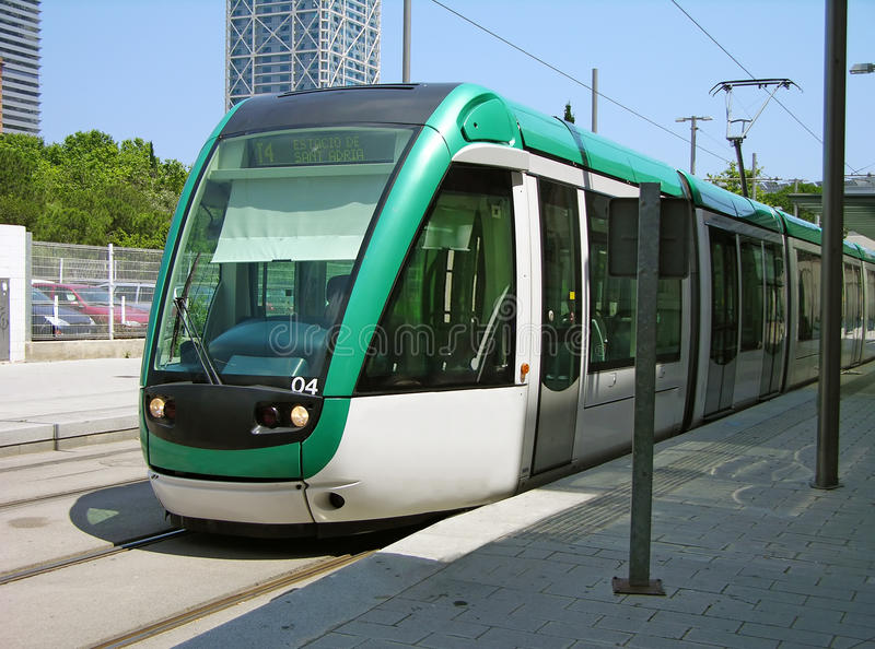 Download Tram in Barcelona, Spain stock image. Image of public - 16305095